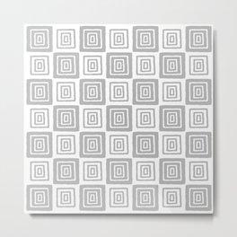 Mid Century Modern Geometric Checker 821 Gray Metal Print