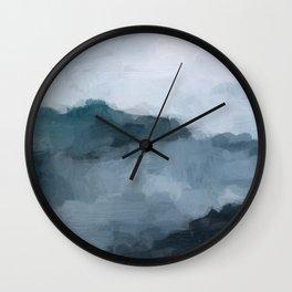 Navy Blue Big Wave Surf Monochromatic Indigo Light Blue Clouds Abstract Nature Ocean Painting Art Print Wall Decor  Wall Clock