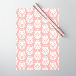 Mid Century Modern Flower Pattern Peach 333 Wrapping Paper