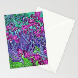 Vincent Van Gogh Irises Painting Violet Fuchsia Palette Stationery Cards