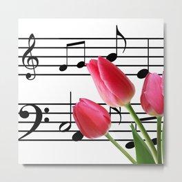 Music Sheet & Tulip Flowers Metal Print