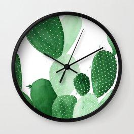 Green Paddle Cactus II Wall Clock