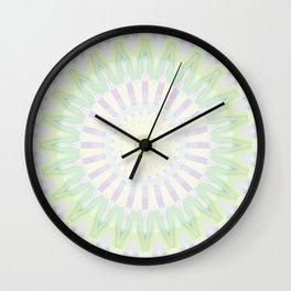 Rhythm of Spring Mandala in Pastel Green, Purple and Yellow Wall Clock