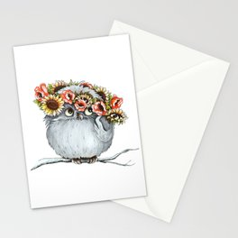 Owl and flowers Stationery Cards