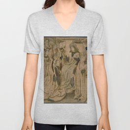 Brussels Manufactory - Tapestry with Esther presented to Ahasuerus (1490 - 1510) Unisex V-Neck