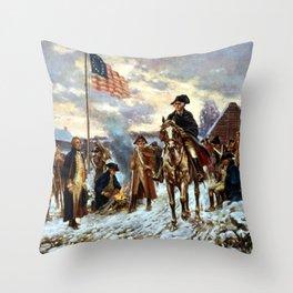 Washington At Valley Forge Throw Pillow