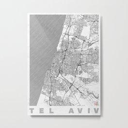 Tel Aviv Map Line Metal Print