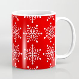 Christmas Snowflake Stars Pattern in Holly Jolly Red Coffee Mug