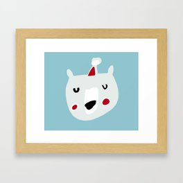 Cute holiday bear blue Framed Art Print