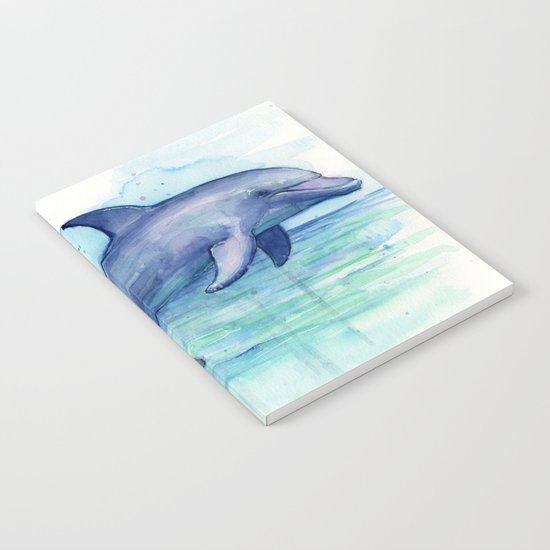 Dolphin Watercolor Sea Creature Animal Notebook