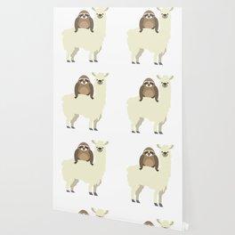 Cute & Funny Sloth Riding Llama Wallpaper