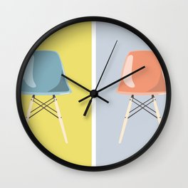 Colored Mid-Century Chairs Wall Clock