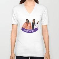 treat yo self V-neck T-shirts featuring Treat Yo Self by Francheska Aristy