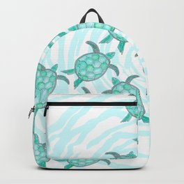 Watercolor Teal Sea Turtles on Swirly Stripes Backpack