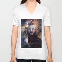 vikings V-neck T-shirts featuring Ragnar in the Stars - Vikings by RsDesigns