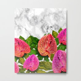 Flamingo flower with marble #society6 Metal Print