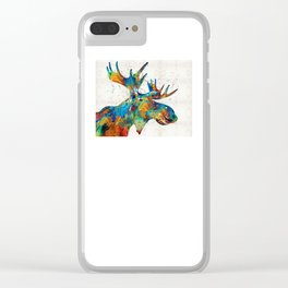 Colorful Moose Art - Confetti - By Sharon Cummings Clear iPhone Case