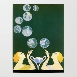 "1920's Art Deco Design ""Bubbles"" Poster"