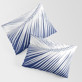 Palm Leaf Silhouette, Navy Blue and White Pillow Sham