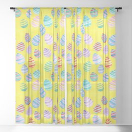 Easter Egg Watercolor Pattern -  Yellow Sheer Curtain