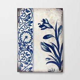 Blue Oriental Vintage Tile 03 Metal Print