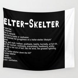 Helter Skelter (white on black) Wall Tapestry