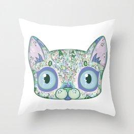 Chromatic Cat III (Green, Blue, Pink) Throw Pillow