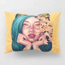 Puzzle Cat Girl Pillow Sham