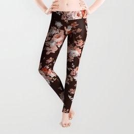Modern burgundy rose gold coral glitter floral Leggings