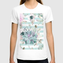 Succulent Garden Striped Succulent Blue T-shirt