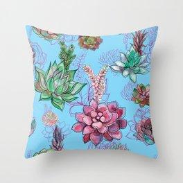 Kitschy Cacti Pattern on Sea Blue  Throw Pillow