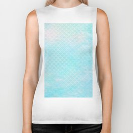 Limpet blue small scallops with paper texture Biker Tank