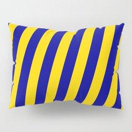 Yellow & Dark Blue Colored Lines Pattern Pillow Sham
