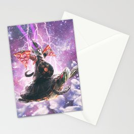 Lazer Warrior Space Cat Riding Turtle With Pizza Stationery Cards