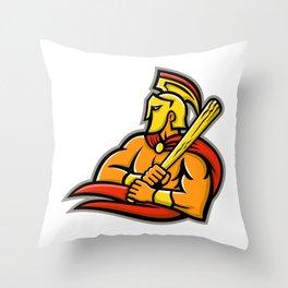 Trojan Warrior Baseball Player Mascot Throw Pillow