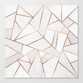 White Stone & Copper Lines Canvas Print