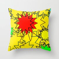 yellow pattern Throw Pillows featuring Yellow pattern  by Vivian Fortunato