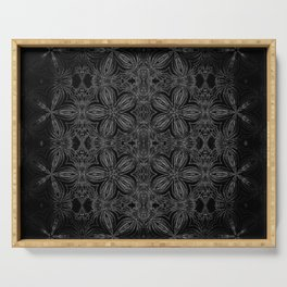 Black Slate Gray Floral Pattern Serving Tray