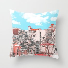 A water painting style photo of peaceful city view  Throw Pillow