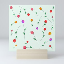 Pattern of tulips. Tulips scattered on the web Mini Art Print