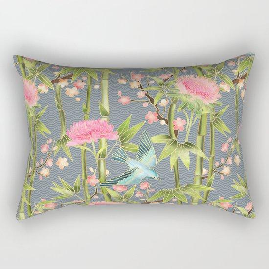 Bamboo, Birds and Blossom - grey Rectangular Pillow