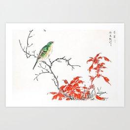 Green Bunting And Red Amaranth Flowers - Vintage Japanese Woodblock Print Art By Numata Kashu (1885) Art Print