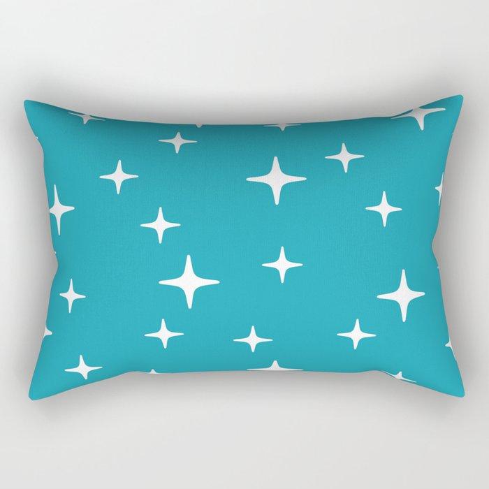 Mid Century Modern Star Pattern 443 Turquoise Rectangular Pillow