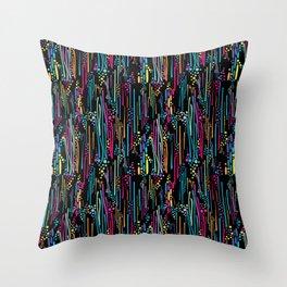 Black Rainbow Doodle & Dot Throw Pillow