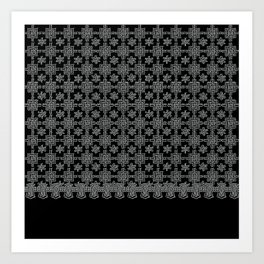 Charcoal and Black Spanish Lace Pattern Art Print