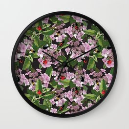 Floral insects pattern Wall Clock