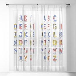 Navy Alphabet Letter - Leather Sheer Curtain