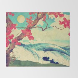 Waking to the Wild and Beautiful Ocean of Dhin Throw Blanket