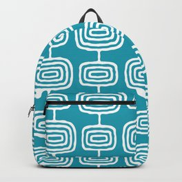 Mid Century Modern Atomic Rings Pattern Turquoise Backpack