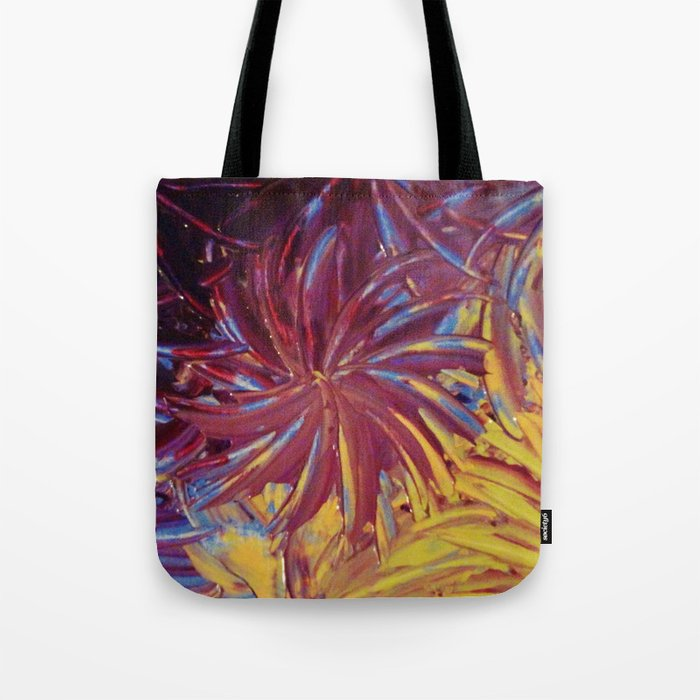 NIGHT FLOWERS 2 - Lovely Relaxing Modern Floral Abstract Acrylic Mauve Purple Plum Eggplant Painting Tote Bag